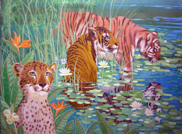 Wading Tigers 1982 30x40 Original Painting - Russ Elliott