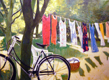 Backyard Dryer 1992 30x40 Original Painting - Russ Elliott