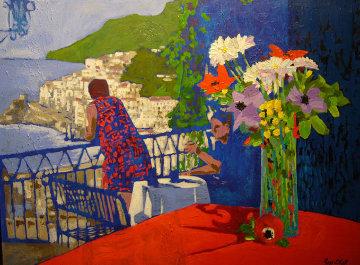Positano View, Italy 1998 30x40 Super Huge Original Painting - Russ Elliott