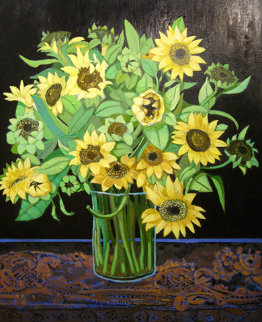 Sunflowers 2008 40x30 Original Painting - Russ Elliott