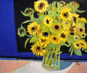 Small Sun Flowers 20x24 Original Painting - Russ Elliott