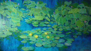 Blue Lilly Pond 36x60 Original Painting - Russ Elliott