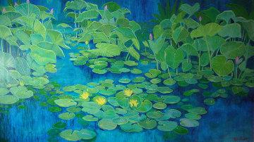 Blue Lilly Pond 36x60 Original Painting by Russ Elliott