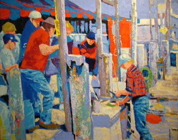 Montauk Fisherman 30x40 Super Huge Original Painting - Russ Elliott