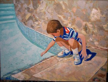 Young Boy At Pool 1995 24x30 Original Painting by Russ Elliott
