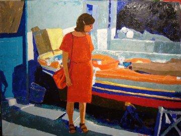 Woman in Red 1984 30x40 Super Huge Original Painting - Russ Elliott