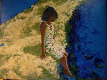 Young Girl Cooling Off 2008 30x40 Huge Original Painting - Russ Elliott