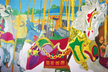 Jennifer's Carousel Horse 1976  60x72 Super Huge Original Painting - Russ Elliott