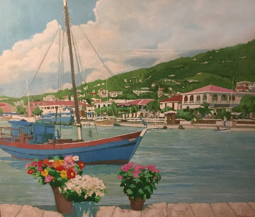 Charlotte Amalie 1986 53x63 Super Huge Original Painting - Russ Elliott