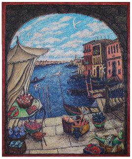 Venetian Market 1990 72x60 Original Painting - Damian Elwes
