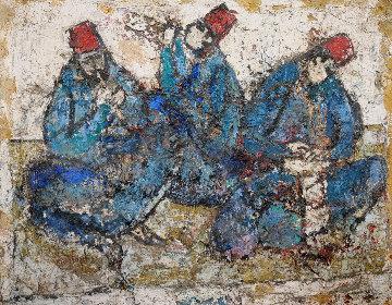 Three Musicians on Wood 1965 26x31 Original Painting by Nissan Engel