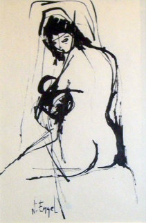 Nude Woman Drawing 8x4 Drawing by Nissan Engel