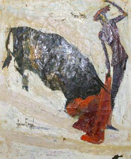 Toro Matador 28x23 Original Painting by Nissan Engel
