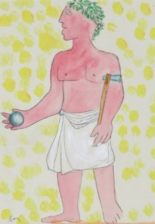 Roman Man Holding a Ball From Imperatores Romani Portfolio: 1972 Works on Paper (not prints) - Enrico Baj