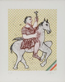 Caius Julius Caesar Octivanius Augustus From  Imperatores Romani Portfolio 1972 Limited Edition Print - Enrico Baj