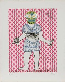 Flavius Valerius Constantinus Chlorus From  Imperatores Romani Portfolio 1972 Limited Edition Print - Enrico Baj