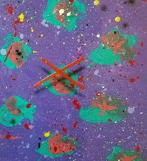 In the Garden 1987 45x36 Huge Original Painting - Mark Erickson