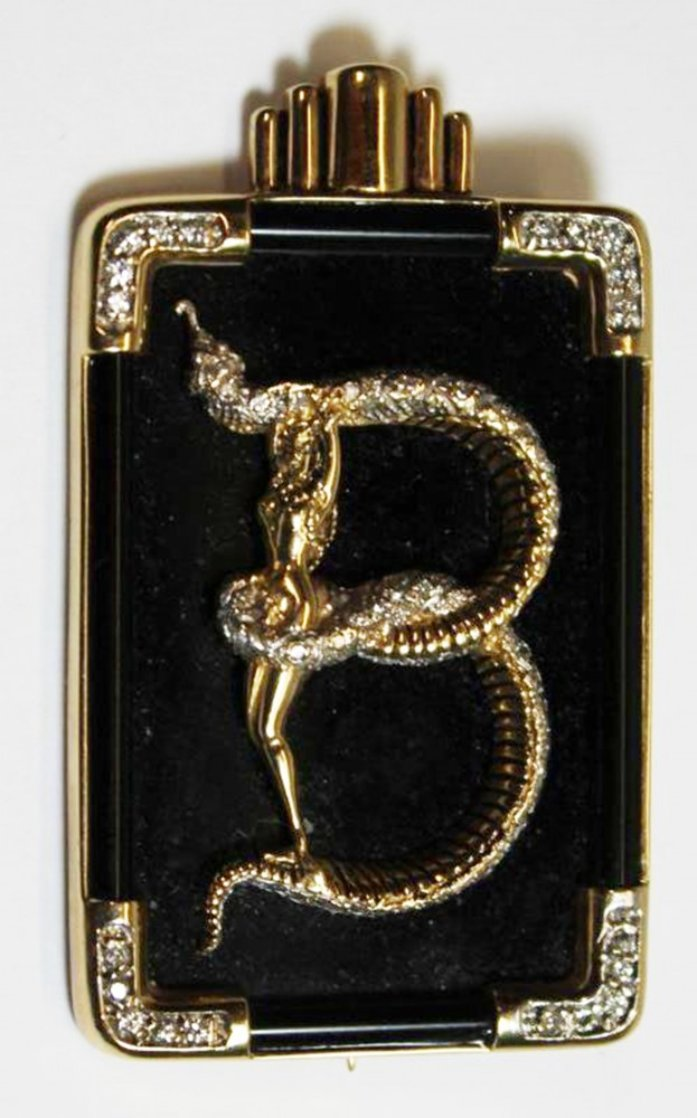 Alphabet Gold Diamond Onxy Brooch Pin B Jewelry by  Erte