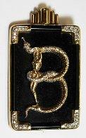 Alphabet Gold Diamond Onxy Brooch Pin B Jewelry by  Erte - 0