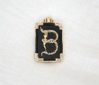 Alphabet Gold Diamond Onxy Brooch Pin B Jewelry by  Erte - 3