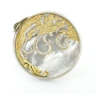 Aphrodite Brooch - Gold - Diamonds - Mother of Pearl Jewelry by  Erte - 0