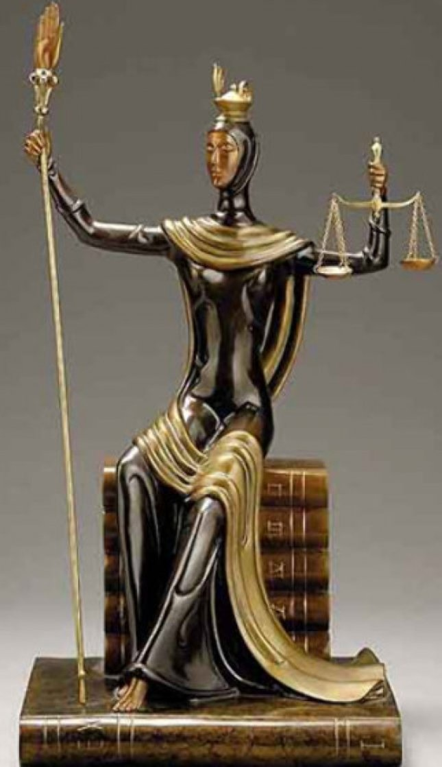 Justice Bronze Sculpture 1984 19 in Sculpture by  Erte