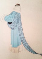 Elegant Lady Wearing Duck Egg Blue Evening Coat AP 1975 Limited Edition Print by  Erte - 1