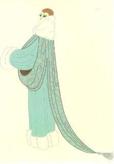 Elegant Lady Wearing Duck Egg Blue Evening Coat AP 1975 Limited Edition Print by  Erte