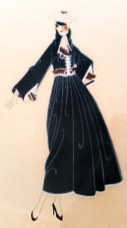 Fashion Plate Woman in Blue With Hat AP 1975 Limited Edition Print by  Erte