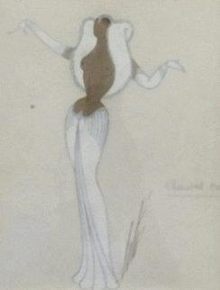 Renard Blanc 1953 28x25 Original Painting by  Erte