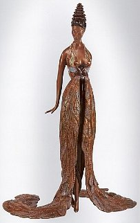 Feather Gown Bronze Sculpture 1990 17 in Sculpture -  Erte