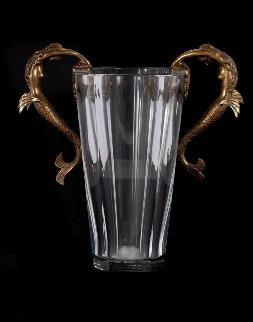 Baccarat Sea Maidens Crystal Vase 1985 13 in Sculpture by  Erte