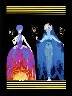 Morning Day, Evening Night Suite of 2 1985 Huge Limited Edition Print -  Erte