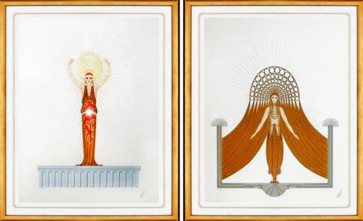 Myth: Diana and Circe 1986 Suite of 2 Embellished Limited Edition Print by  Erte