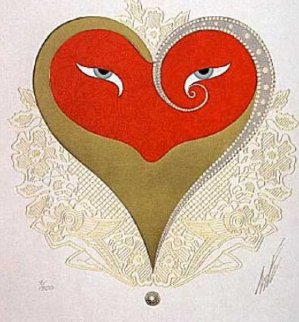 Heart II (Red And Gold) 1986 Limited Edition Print by  Erte