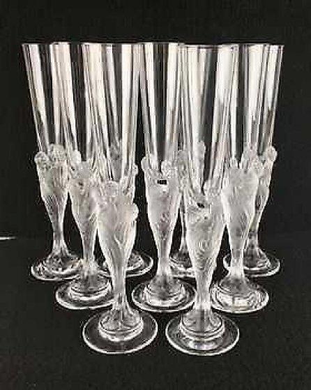 Flute Majestique Set of 10 Flutes Glass Sculpture 1990 Sculpture by  Erte