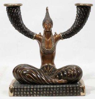 Fortune Candlestick Bronze Sculpture 1987 10 in Sculpture by  Erte