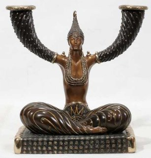Fortune Candlestick Bronze Sculpture 1987 10 in Sculpture by  Erte