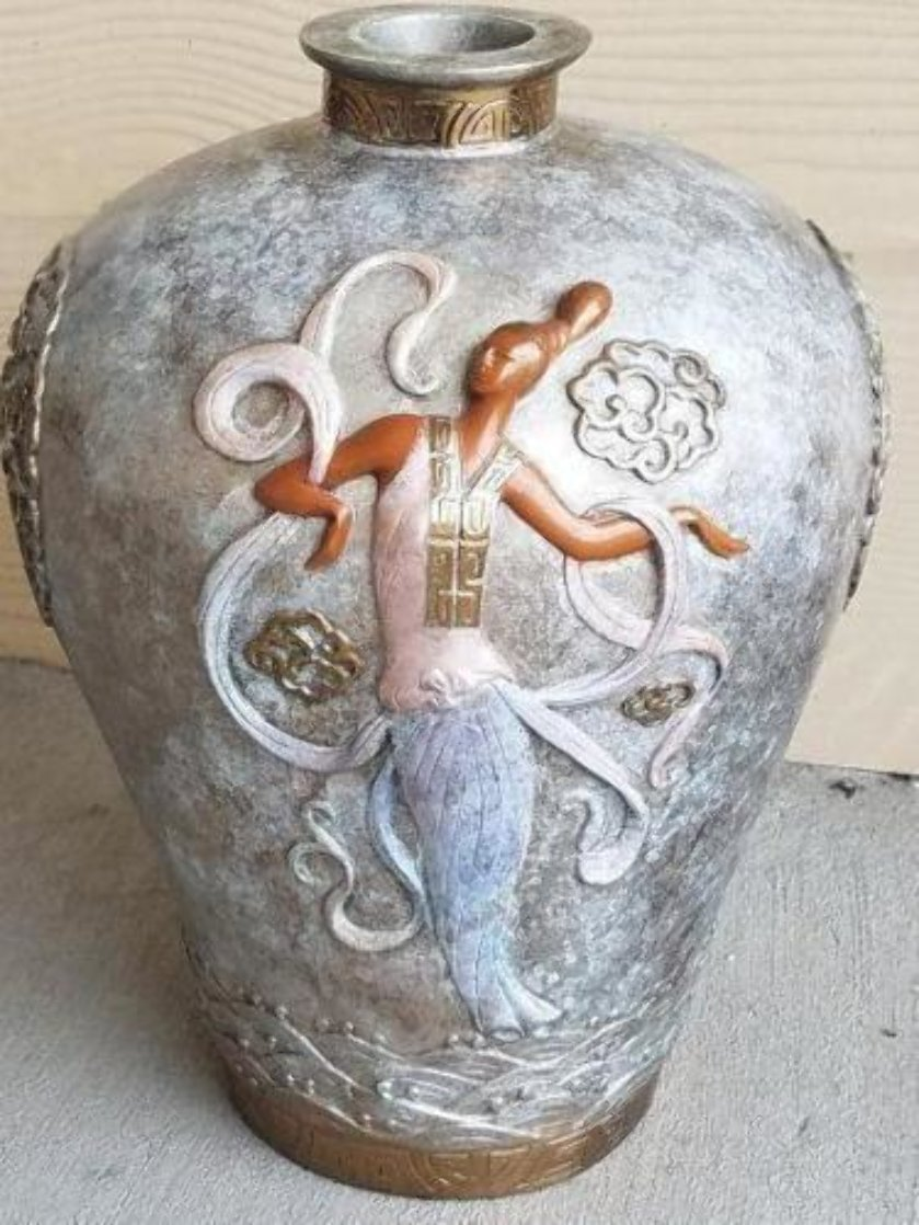 Oriental Mystery Bronze Vase 1987 12 in Sculpture by  Erte