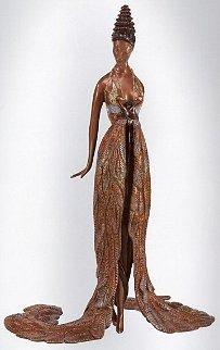 Feather Gown Bronze Sculpture 1990 17 in Sculpture by  Erte