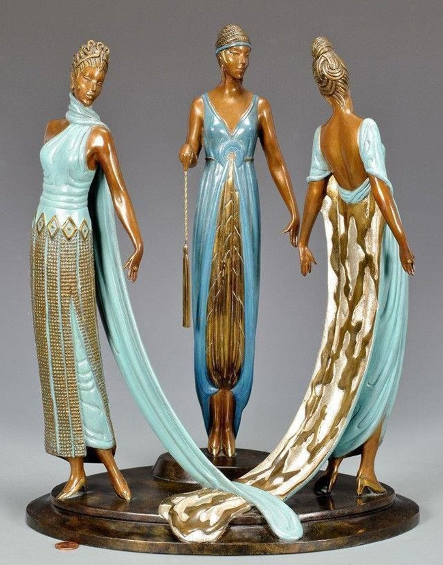 Three Graces Bronze Sculpture 1987 16 in Sculpture by  Erte