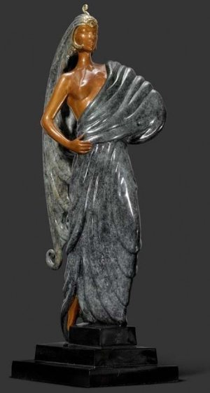 Beauty And the Beast Bronze Sculpture 1982 16 in Sculpture by  Erte