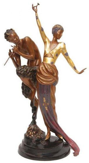Woman And Satyr Bronze Sculpture 1986 26 in Sculpture by  Erte