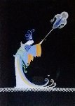Fan Bearer Original from Aladdin, Folies Bergere 1927 Original Painting -  Erte