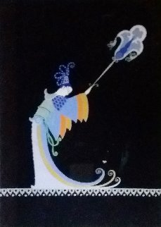 Fan Bearer Original from Aladdin, Folies Bergere 1927 Original Painting -  Erte