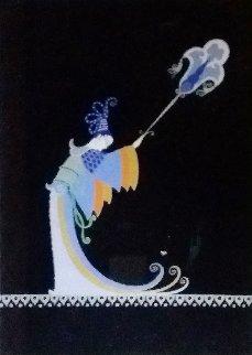 Fan Bearer Original from Aladdin, Folies Bergere 1927 Original Painting by  Erte