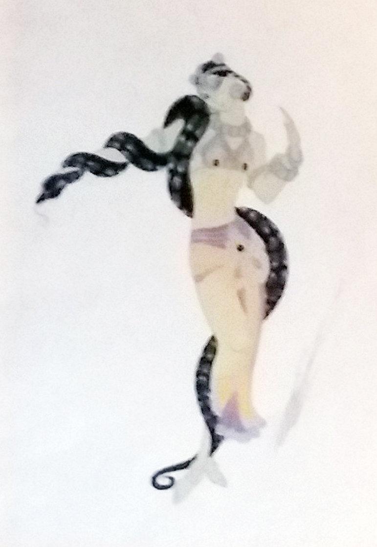 Charmeuse De Serpent 1936 27x32 Original Painting by  Erte