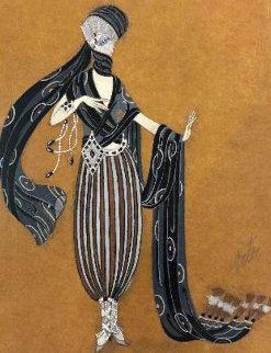 Scheherazade Calyph\'s Concubine 1924 17x15 Watercolor -  Erte