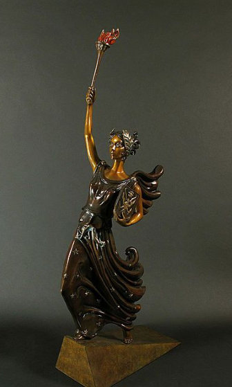 Liberty, Fearless And Free Bronze Sculpture 1984 28 in by  Erte