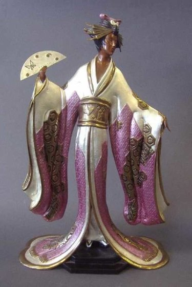Madame Butterfly Bronze Sculpture 1990 20 in Sculpture by  Erte